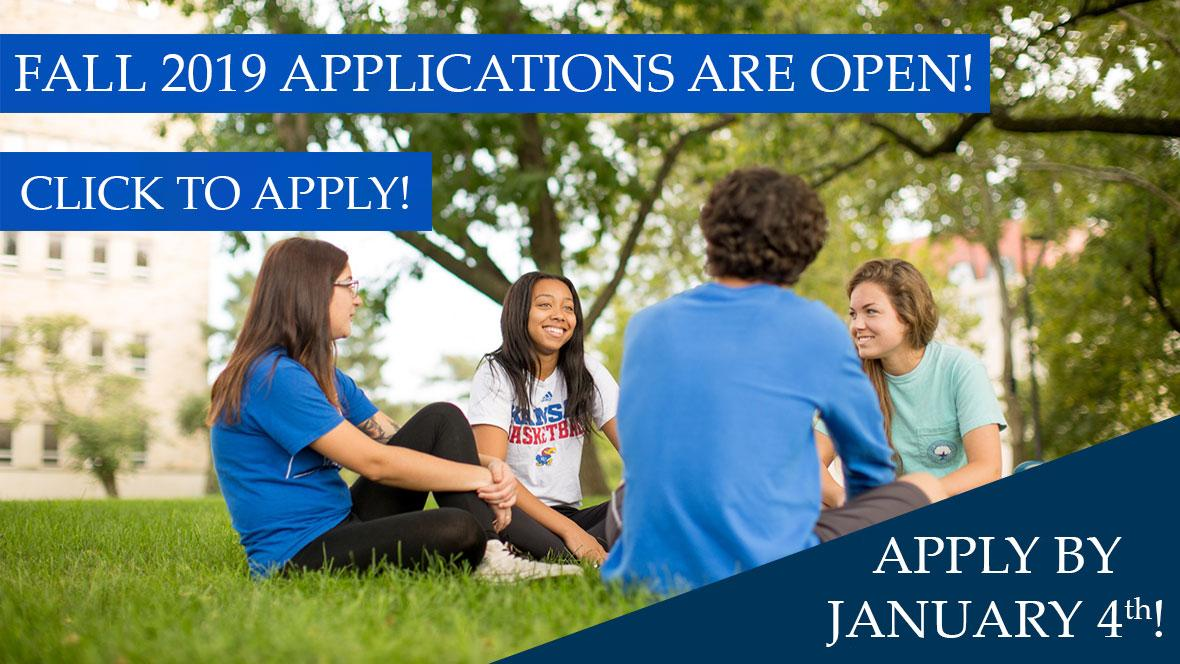 Image background is of students sitting on grass with text Fall 2019 applications are open! Apply by January 4th. Click here!