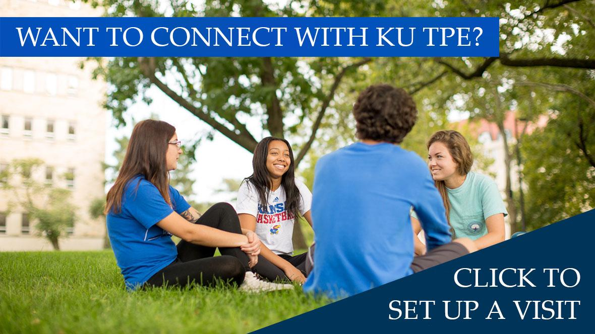 Students sitting on grass with text Want to Connect with KU TPE? Click to set up a visit!
